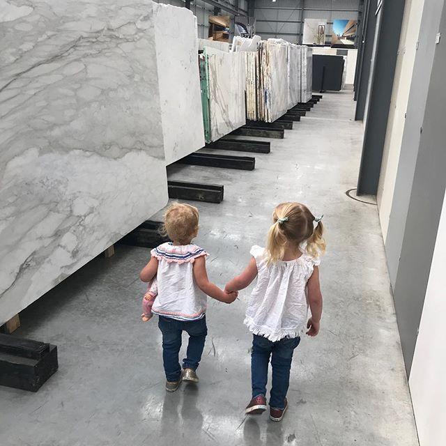 My girls choosing the marble For Tivoli Road! Bless @tessmollard