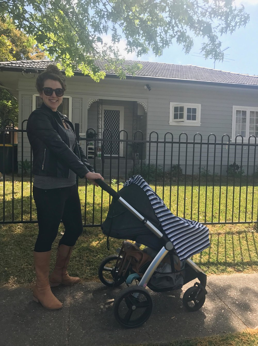 Rocking a like new stroller, minus the price tag!