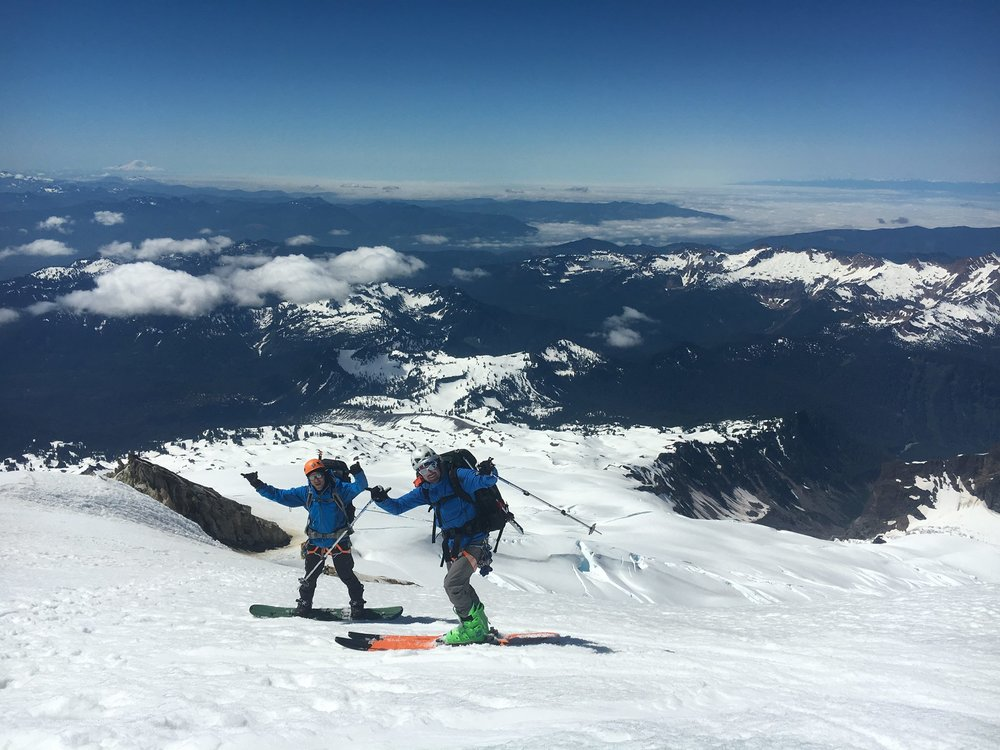 Eli and Murph enjoy the trip down Mt. Baker / July 2017