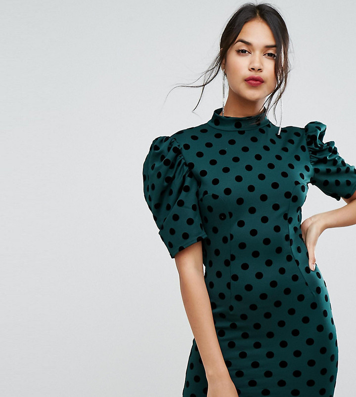 $48 ASOS PrettyLittleThing Polka Dot Open Back Mini Dress