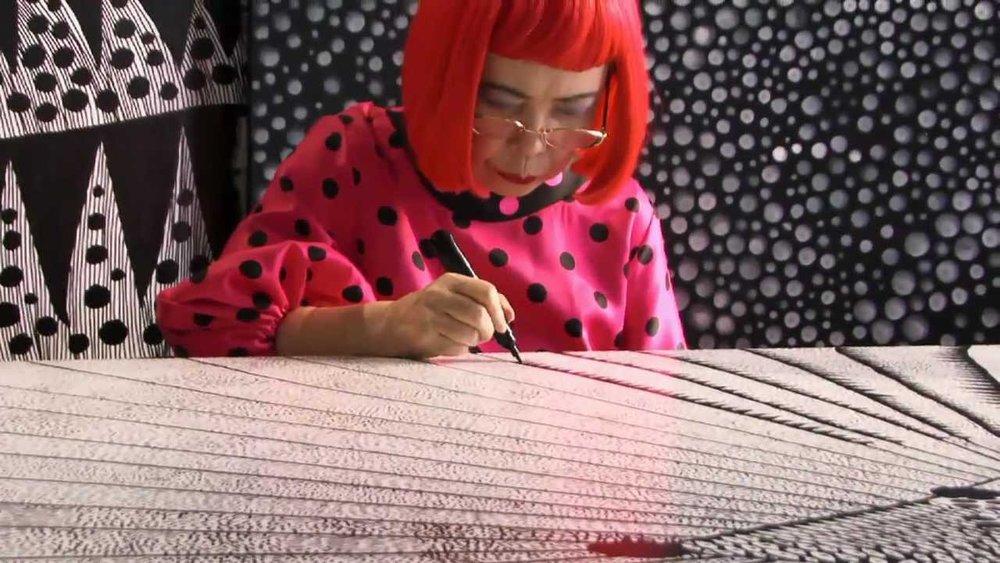 Yayoi Kusama in her studio, Tokyo. Video still taken from the documentary  Kusama: Princess of Polka Dots