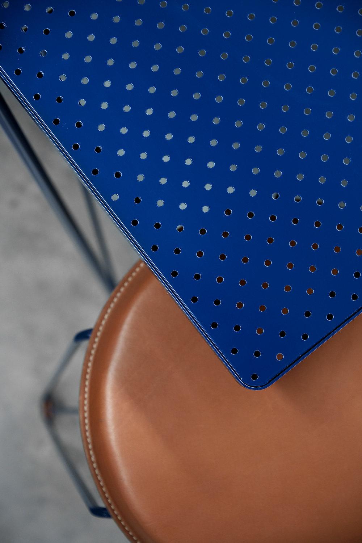 REX stool in tan leather