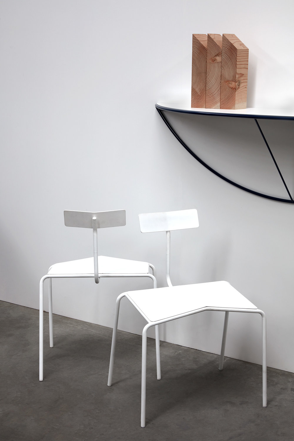 Cassini shelf above with paper chair in white