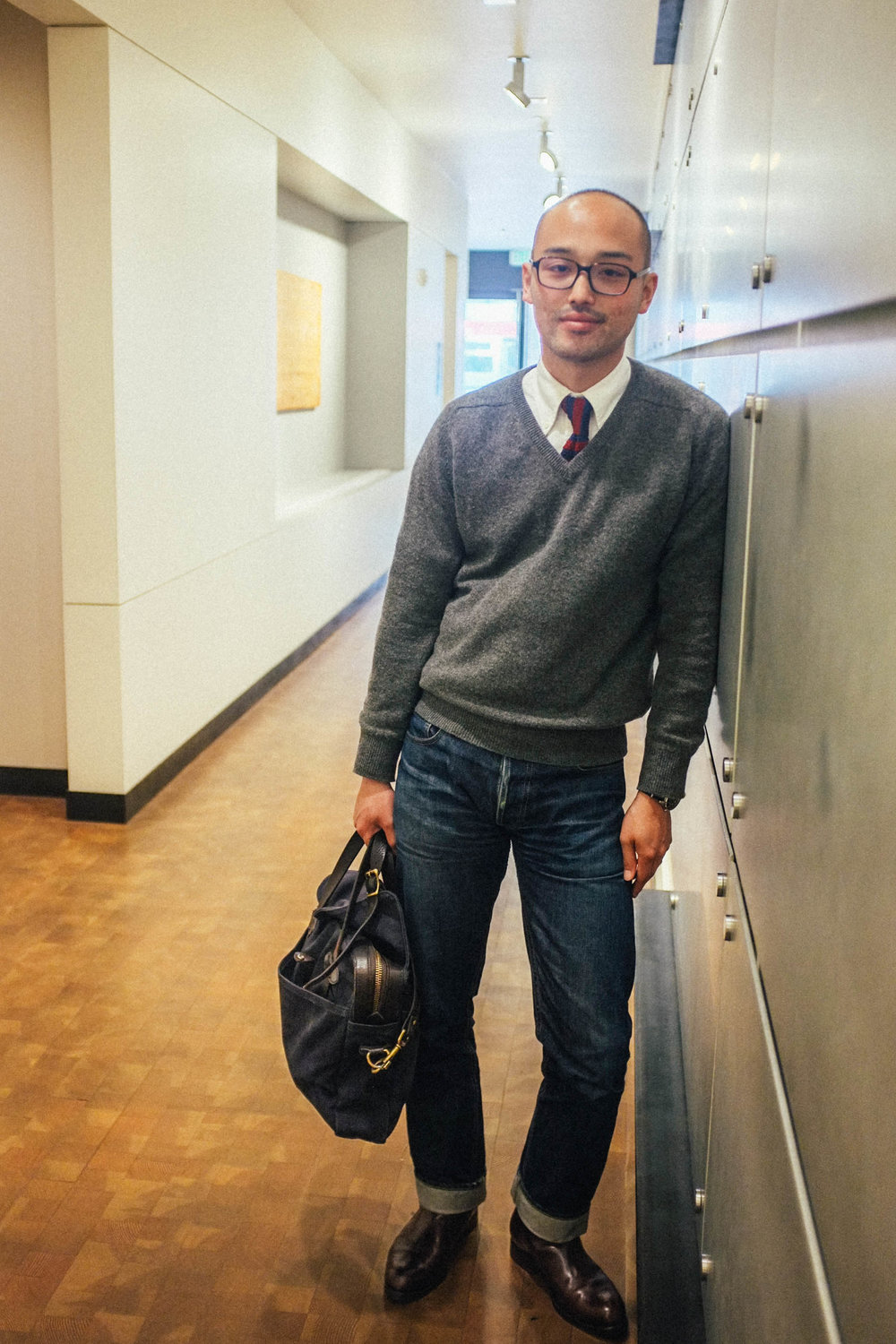 Glasses - JINS | Sweater - Scott and Charters | Shirt - Brooks Brothers | Tie - Band of Outsiders | Jeans - 3Sixteen | Boots - Carmina Shoemaker | Briefcase - Filson