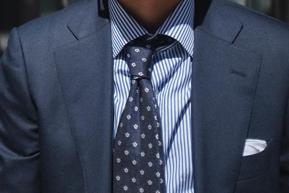 Glasses -   JINS | Suit - SuitSupply | Shirt - Proper Cloth | Tie - Vanda Fine Clothing | Pocket Square - Drake's of London | Belt and Shoes - Carmina Shoe Maker | Briefcase - Filson