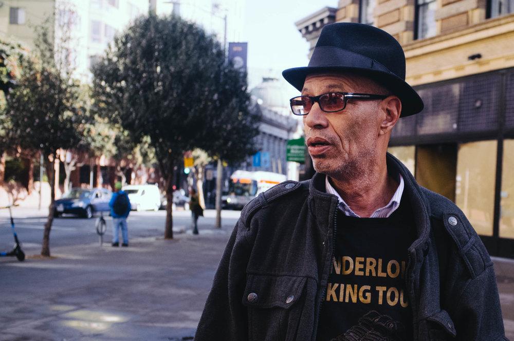 Del Seymour leading a walking tour in the Tenderloin