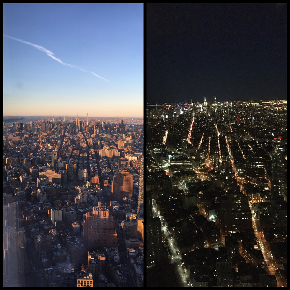 Pictured: (left) sunset view (right) night time view.