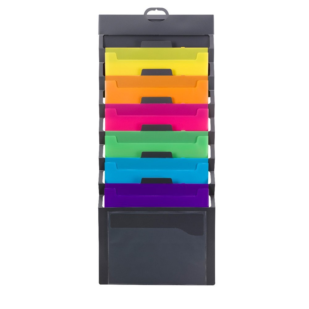 The  Smead Cascading Wall Organizer  has 6 Pockets and collapses for easy transport if you need to take work on the go.