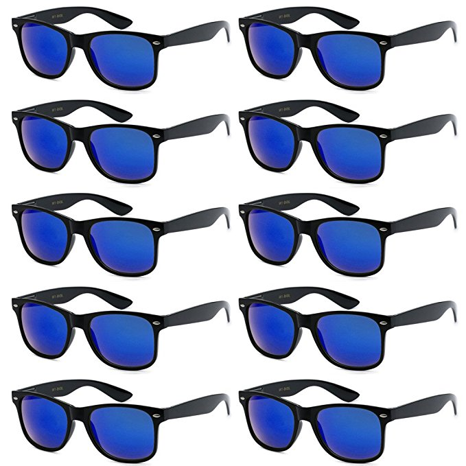 UNISEX 80'S RETRO STYLE BULK LOT PROMOTIONAL SUNGLASSES - 10 PACK