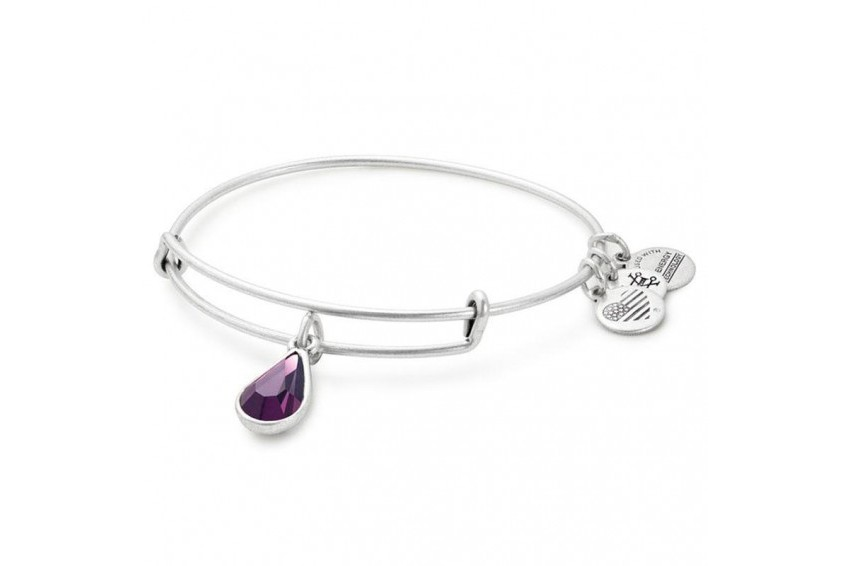 Alex And Ani Swarovski Teardrop February Birth Month Bangle - Amethyst/Silver