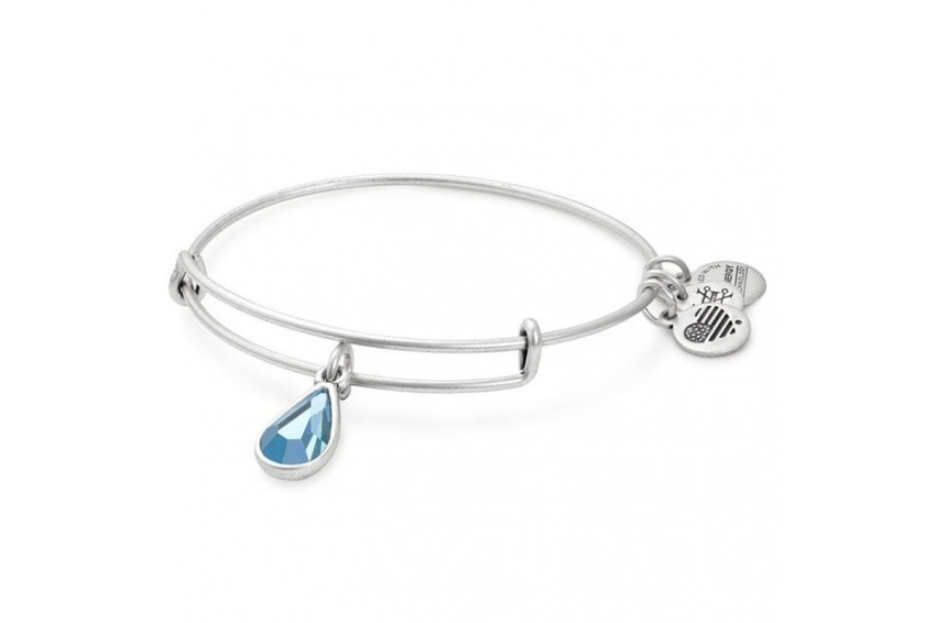 Alex And Ani Swarovski Teardrop March Birth Month Bangle - Aquamarine/Silver