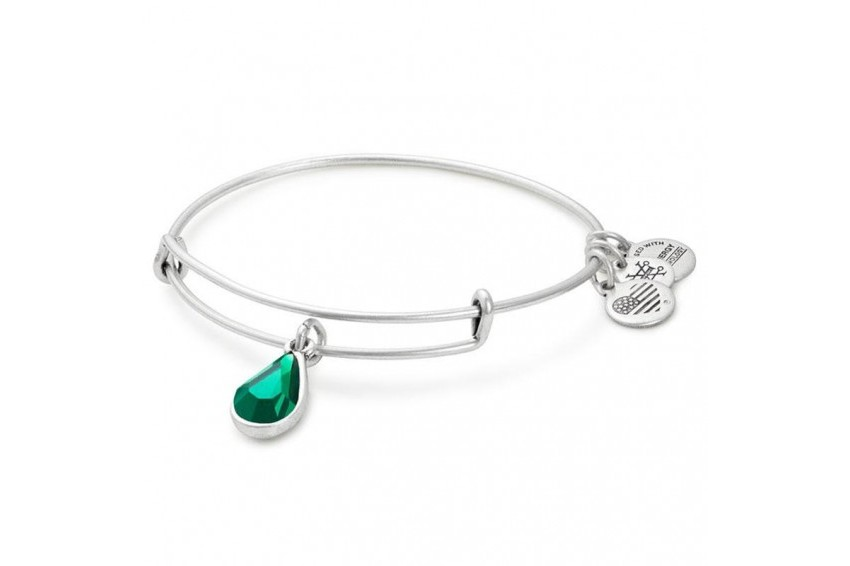 Alex And Ani Swarovski Teardrop May Birth Month Bangle-Emerald/Silver