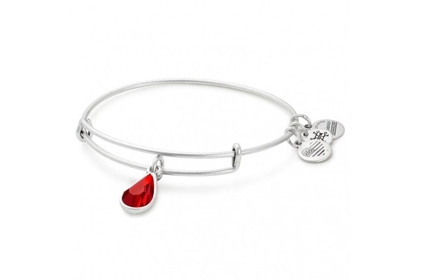 Alex And Ani Swarovski Teardrop July Birth Month Charm Bangle - Ruby/Silver