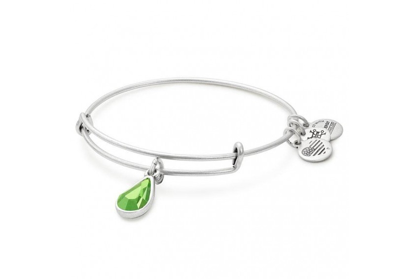 Alex And Ani Swarovski Teardrop August Birth Month Bangle - Peridot/Silver