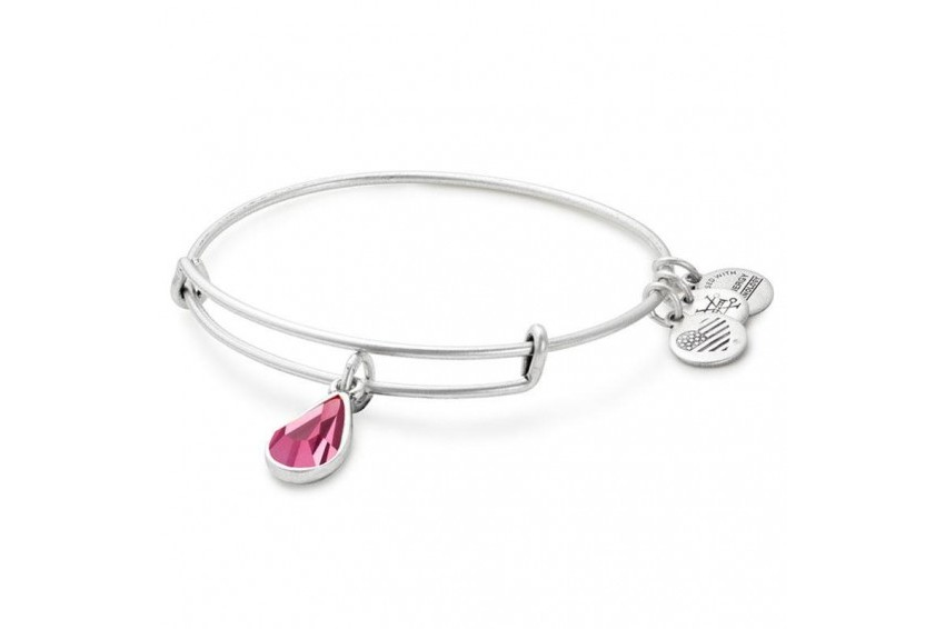 Alex And Ani Swarovski Teardrop October Birth Month Bangle - Rose/Silver