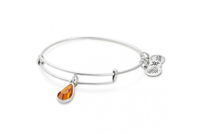 Alex And Ani Swarovski Teardrop November Birth Month Bangle - Topaz/Silver