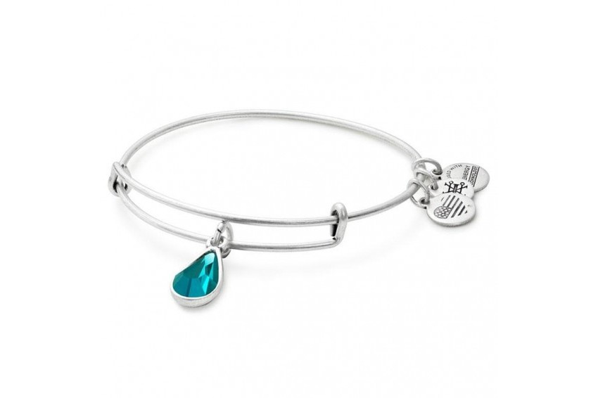 Alex And Ani Swarovski Teardrop December Birth Month Bangle - Blue Zircon/Silver