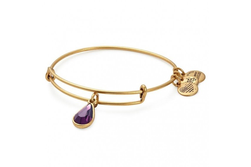 Alex And Ani Swarovski Teardrop February Birth Month Bangle - Amethyst/Gold