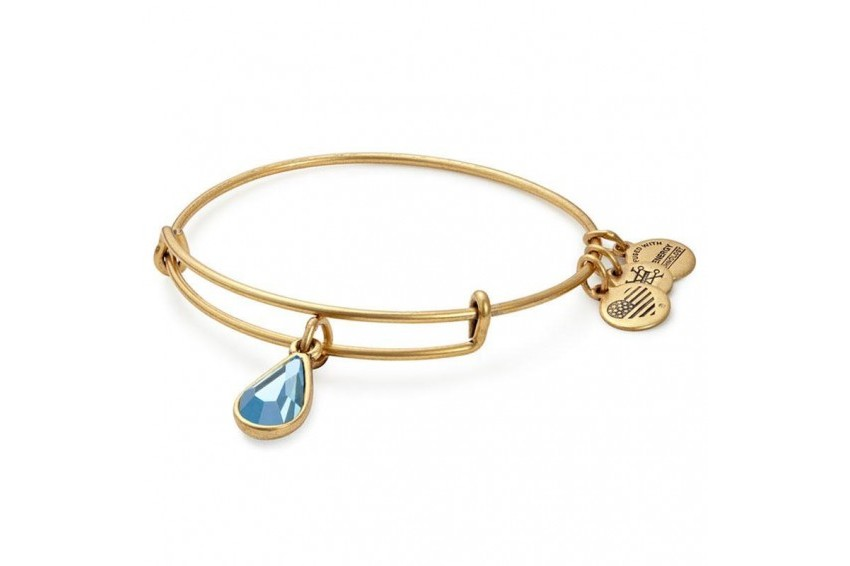 Alex And Ani Swarovski Teardrop March Birth Month Bangle - Aquamarine/Gold