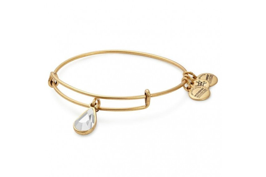 Alex And Ani Swarovski Teardrop April Birth Month Bangle - Crystal/Gold