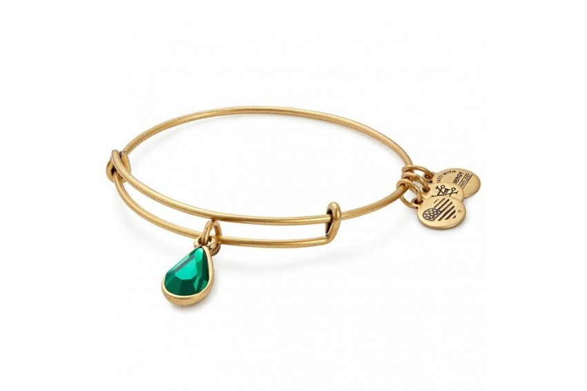 Alex And Ani Swarovski Teardrop May Birth Month Bangle - Emerald/Gold