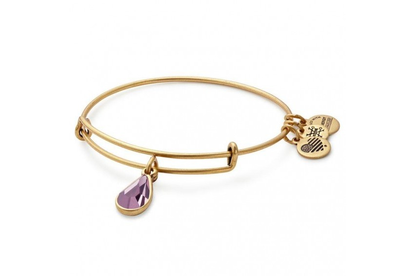 Alex And Ani Swarovski Teardrop June Birth Month Bangle-Light Amethyst/Gold
