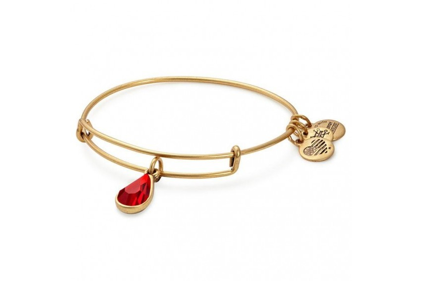 Alex And Ani Swarovski Teardrop July Birth Month Charm Bangle-Ruby/Gold