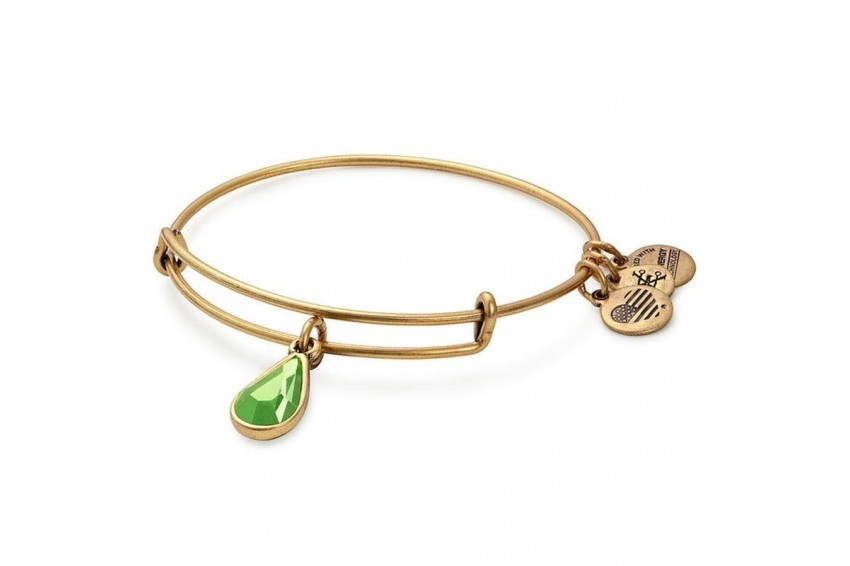 Alex And Ani Swarovski Teardrop August Birth Month Bangle - Peridot/Gold