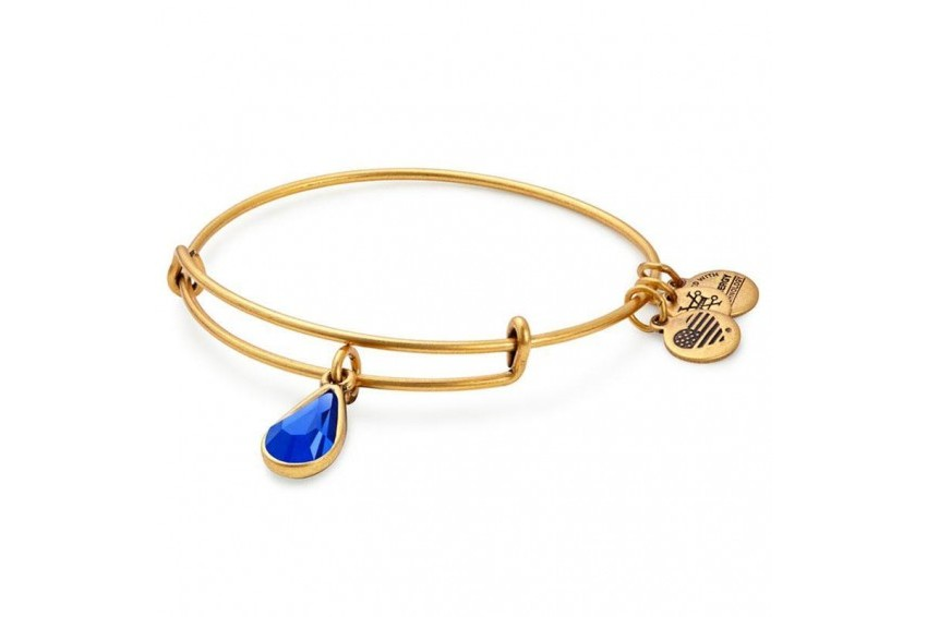 Alex And Ani Swarovski Teardrop September Birth Month Bangle -Sapphire/Gold