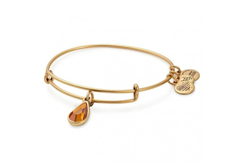 Alex And Ani Swarovski Teardrop November Birth Month Bangle -Topaz/Gold