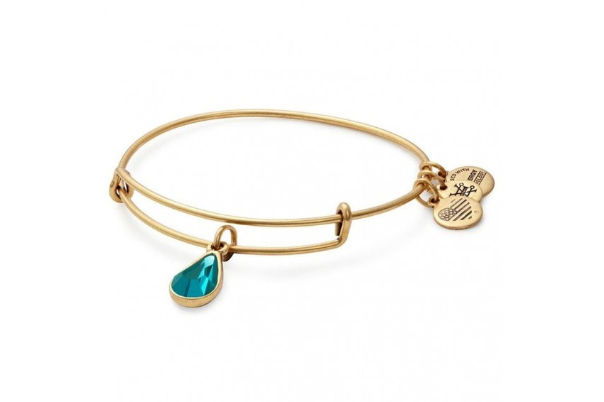 Alex And Ani Swarovski Teardrop December Birth Month Bangle - Blue Zircon/Gold