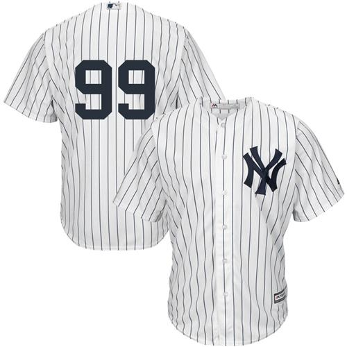 Men's New York Yankees Aaron Judge Majestic Home White Pinstripes Cool Base Player Jersey $99.99