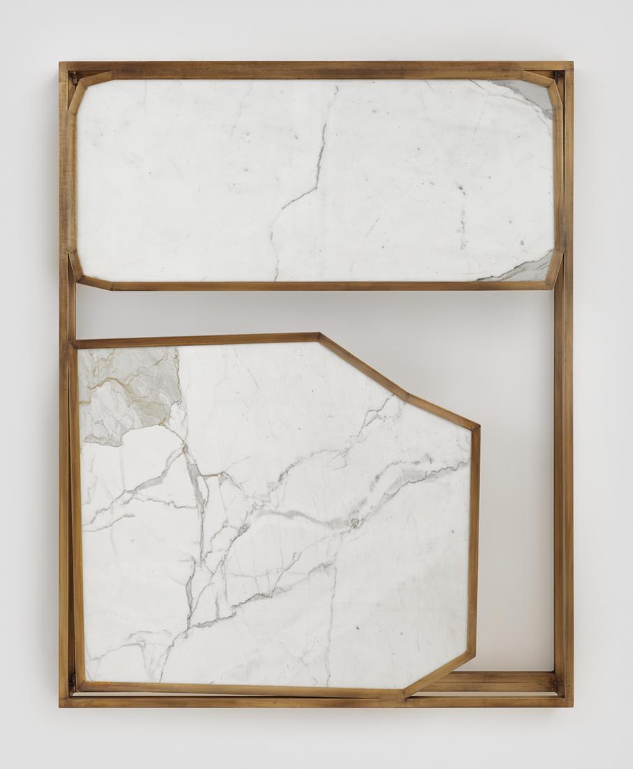 "Sam Moyer Marshall Field's 2015 Bronze and marble, 70 x 56 x 6"". Courtesy of the artist and Kavi Gupta Gallery"
