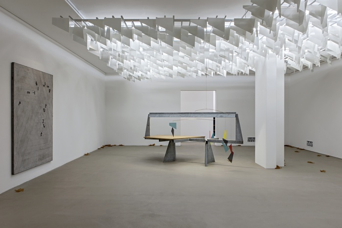 Martin Boyce,  Do Words Have Voices , 2011 (left). Installation view. Courtesy of the Museum Für Gegenwartkunst, Basel