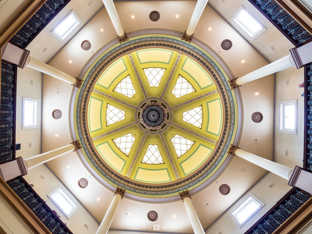 Love this roof but it is so large that even with my super wide angle at 7mm on Micro Four Thirds I just couldn't fit it all in the one shot. I was sitting on the ground and was trying to align the centre chandelier with the roof above, any tiny movement with a lens this wide makes hugh changes just like a telephoto!