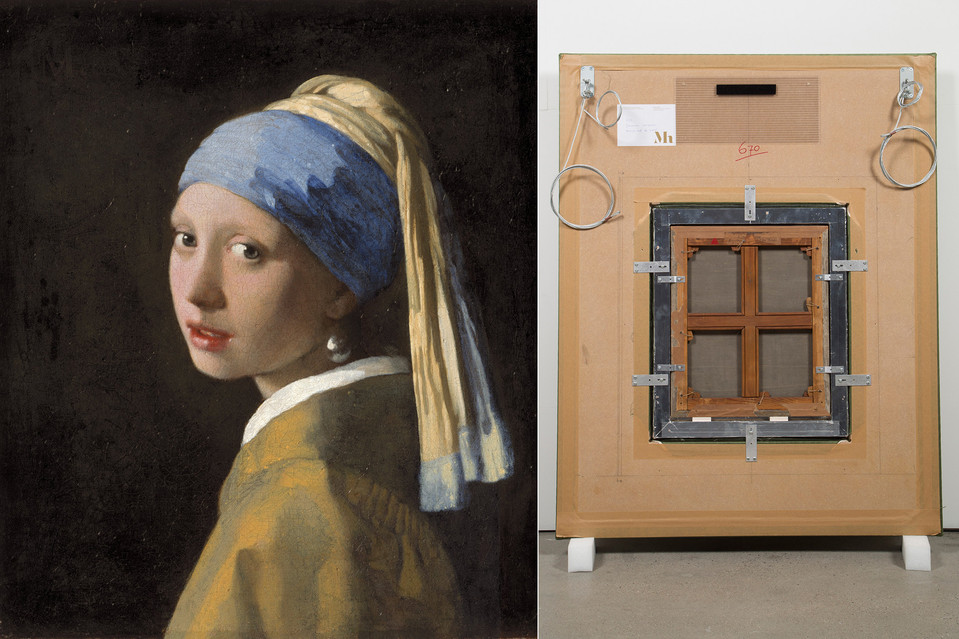 Brooklyn and Rio de Janeiro-based artist Vik Muniz and a team of specialists have traveled extensively to photograph and meticulously recreate as sculptural objects the B-sides of masterworks to include Johannes Vermeer's 'Girl with a Pearl Earring', c. 1665, left. Vik Muniz's 'Verso (Girl with Pearl Earring),' 2016. reconstruction, at right.  PHOTO: MAURITSHUIS, THE HAGUE; VIK MUNIZ