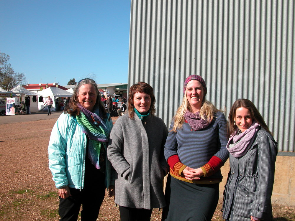 The gang on Sunday: left to right, me, Sandy Holdaway (pattern designer), Mary Donohue (wearing her 3-in-1 Henley made from 4 ply WGW), and Sally Oakley (pattern designer). I'm wearing the scarf that Mary Donohue knitted for me from a gradient by Agnes Bolton.