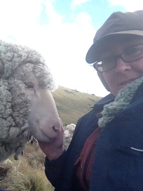 Lyn and best buddy Vicky. Lyn has tremendous affinity for animals, and it showed in how quickly the sheep (and dogs and cats) accepted her.