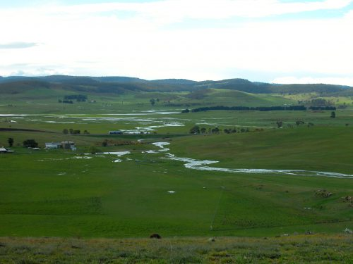 P2: Curly Sedge Creek flowing into the valley beyond. You can see the standing water in the Road Paddock.