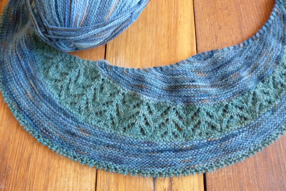 An Ashmore diversion in the form of Justyna Lorkowska's Royal Mile shawl pattern.