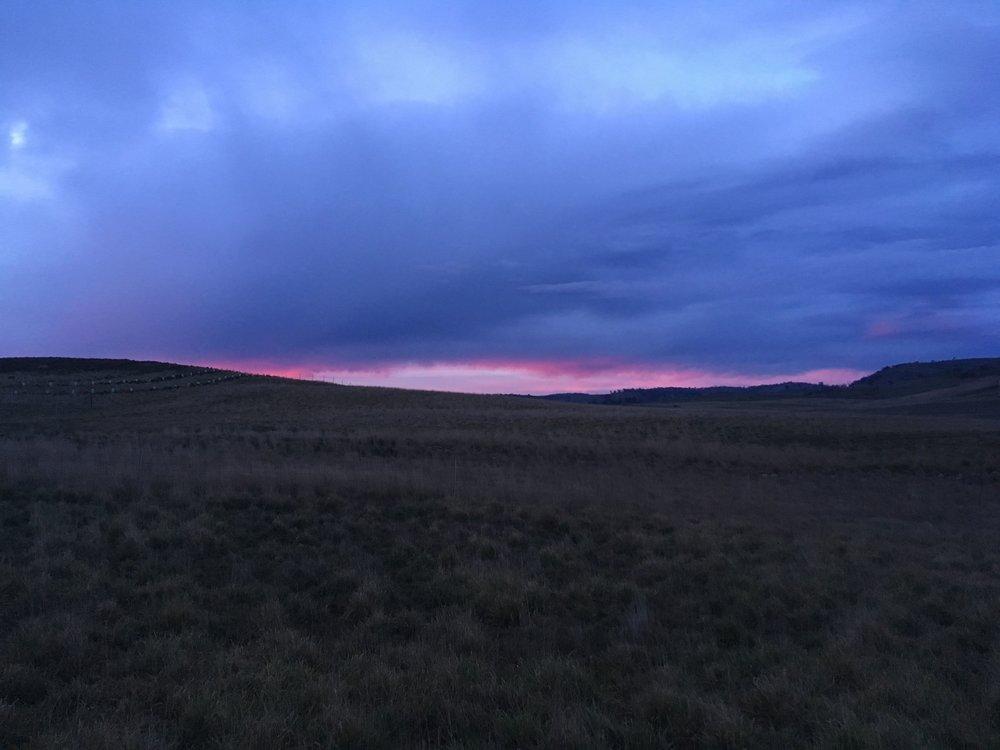 Winter sunrise, late July