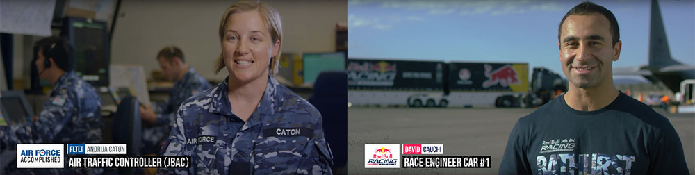 Above are a couple of examples of the Air Force and Red Bull lower thirds, see them in action below.