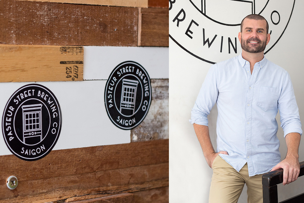 Left: the Pasteur Street Brewing Company logo. Right: Pasteur Street's 32-year-old American founder, John Reid.