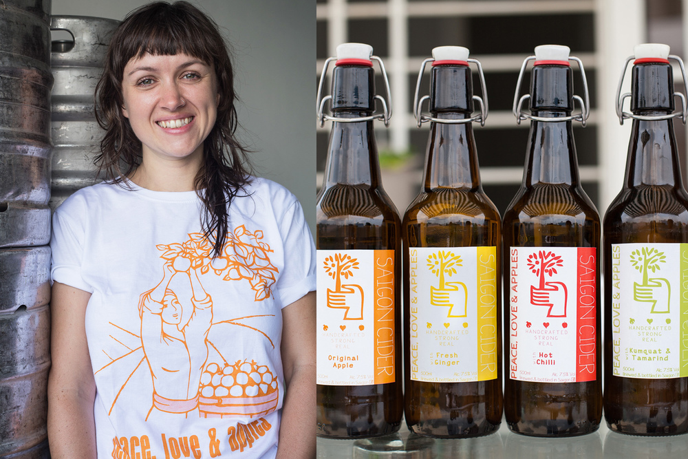 Left: Architect Hannah Jeffreys, 31, started making cider in Vietnam a few years after arriving here in 2011.  Image on right by Francis Xavier - provided by Saigon Cider.