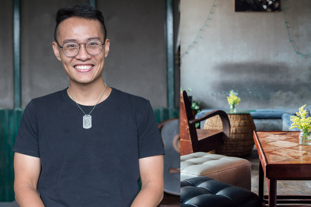 Tanh Tung, architect and owner of Mocking Bird Cafe on the top storey of 14 Ton That Dam. His bar/cafe was among the first businesses to open in the building.