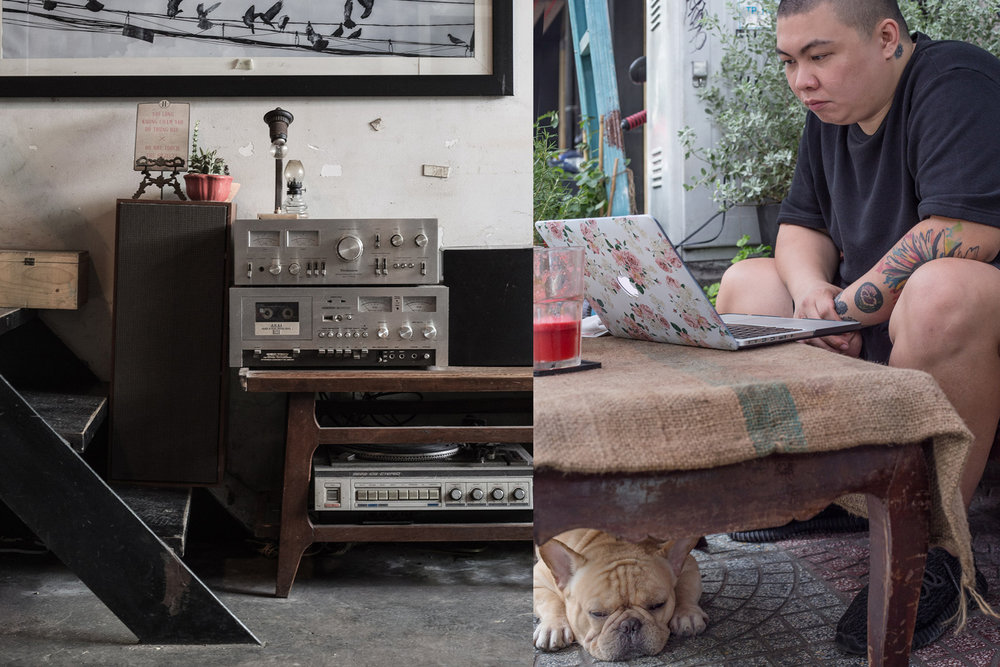 The retro interior of Heritage Republic, a 24-hour cafe/bar in Pasteur Street, Ho Chi Minh City. Ken Huynh is the owner, pictured here with one of his three British bulldogs.