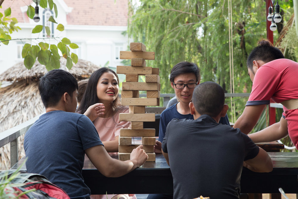 Giant Jenga fun at Saigon Outcast in District 2, Ho Chi Minh City.