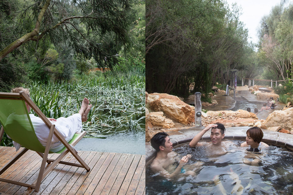 Enjoying the peace, serenity and 42-degree restorative waters at the award-winning Peninsula Hot Springs, which has recently added several new private pools and features, including natural mud therapies.