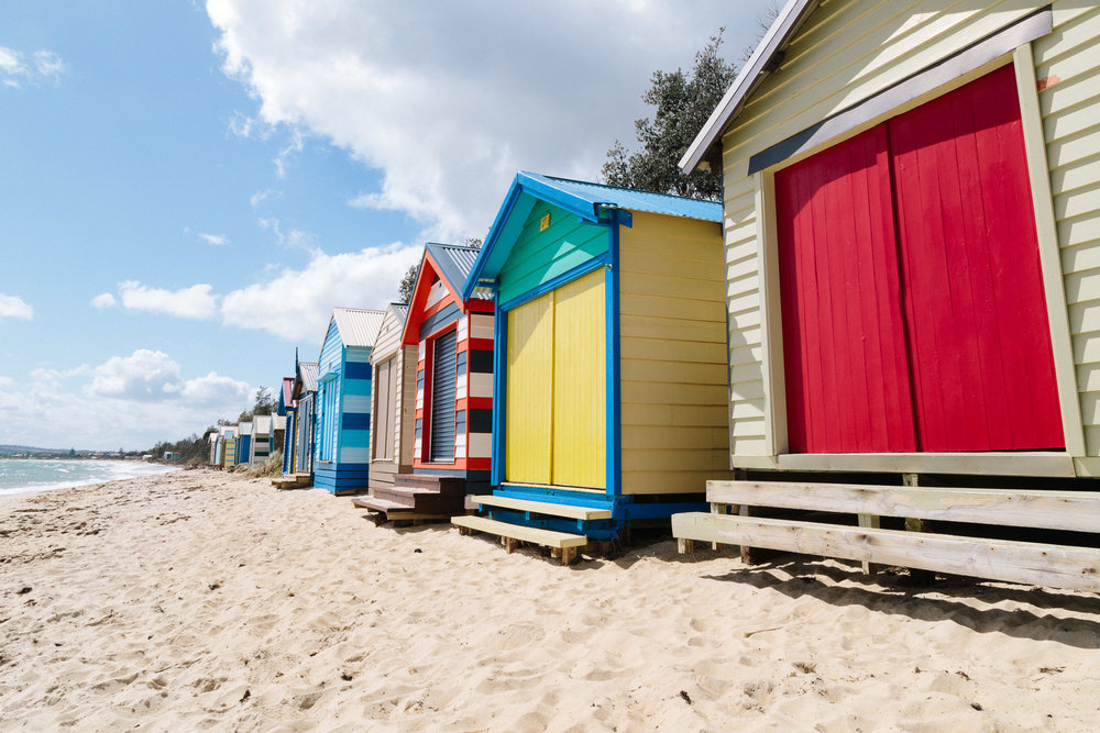 Beach boxes, bathing boxes, boat sheds. Call them what you like, Mornington Peninsula's Bay coast is dotted with these colourful huts, leased by owners but often fetching handsome prices in sales. These above we found at Safety Beach.