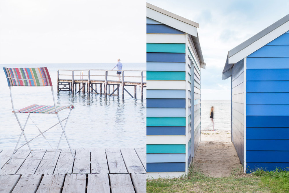 While the quiet beaches of Port Phillip Bay (above) offer family-friendly fun and lazy afternoons, just 10 minutes away the Peninsula's rugged back beaches and ocean coastline (below) are another story, perfect for more adventurous pursuits, including surfing, fishing and long walks.